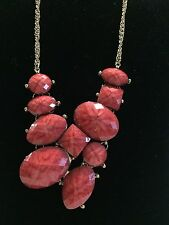 Costume Fashion Jewelry CORAL FAUX STONES WITH YELLOW GOLD TONED CHAIN