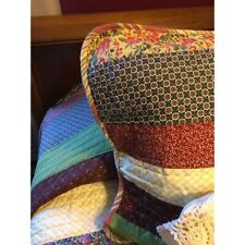 NEW! ~  CHIC PATCHWORK COTTAGE GREEN BLUE PINK RED YELLOW PURPLE SOFT QUILT SET