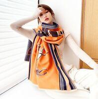 Luxury Orange Cashmere Blend Horse Print Long Large  Italian Neck Scarf Shawl