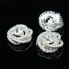 4Pcs Diamante Clear Crystal Silver Tone Shank Rhinestone Buttons Sewing Craft