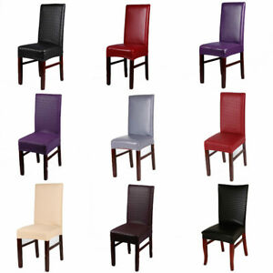 Solid Color PU Leather Dining Chair Covers Seat Slipcovers Kitchen Chair Decor
