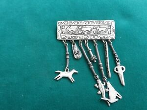 Quality JJ 1988 Aztec style pewter brooch huge with hanging objects lizard etc