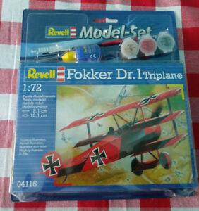 Red Barons Fokker DR. 1 kit 1/72 scale Revell #04116 Model Set Paint & Brush