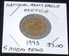 VERY NICE TWO COIN SET ~ Mexico 2004 2 PESOS (KM604) & 1993 5 PESOS (KM552)