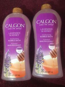 2 - 30 oz each Calgon Take Me away Lavender & Honey Moisturizing  BUBBLE BATH