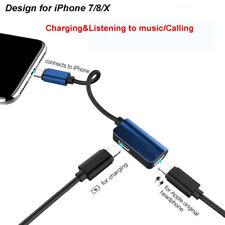Headphone Adapter Charger Splitter Lightning Jack Plug Port For iPhone 7 8 X