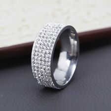 Ring Wedding Band Rings Size 6-12 Women Fashion Stainless Steel Zircon Zirconia