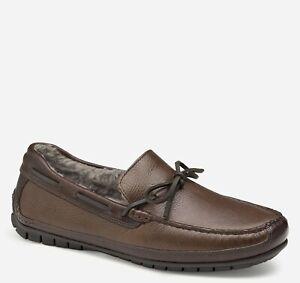 Johnston & Murphy Men's Cort Shearling Slipper - Brown/Dark Brown Full Grain