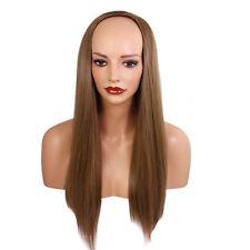 "Ladies 3/4 Half Wig Light Chocolate Brown Straight 22"" Heat Synthetic Hair"