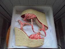 Carvela Callie Red/Natural Summer Wedges Size 37/4 kept boxed