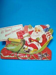 Bethany Lowe Christmas Santa on Sleigh Dog Retro Vintage Style Dummy Board