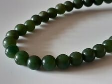 More details for vintage chinese jade - jadeite beaded necklace with silver 925 clasp