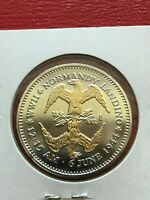 Dwight Eisenhower  IKE  WW ll Normandy Landing Anniversary Gold Plated Coin