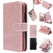 Bling Glitter Leather Case Magnetic Flip Card Wallet Cover For iPhone X 7 8 Plus