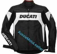 DUCATI BLACK MOTORCYCLE MOTORBIKE COWHIDE LEATHER BIKERS RACING JACKET