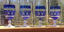 4 Val St Lambert Cut Glass Blue to Clear Water Goblets