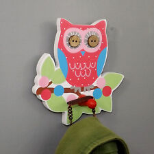 Children's Bright OWL Peg COAT HOOK perched on a green leafy branch. Button eyes