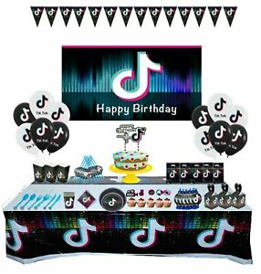 Tik Tok Theme Birthday Party Decoration Supplies Cup Plate Banner Balloons