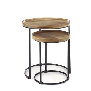 Round solid wood nest of 2 tables side end lamp table