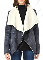 NEW Womens FAUX SUEDE BORG LINED WATERFALL JACKET Ladies Coat Size 8 10 12 14 16