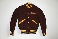 True Vintage USA Varsity Letterman Jacket Brown Yellow Embroidered Michael Gift