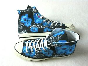 Converse Mens CTAS 70 High Canvas Shoes Black Gnarly Blue Floral Size 10 NEW