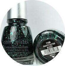 China Glaze Nail Polish Graffiti Glitter 1186 Emerald Green Multi Sizes Hex Gli