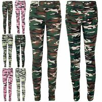 Womens Ladies Camouflage Stretch Full Ankle Length Denim Jeans Leggings Jeggings