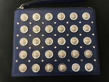 VERSUS VERSACE BLUE ALL OVER SILVER LOGO EMBELLISHMENTS CLUTCH LEATHER M BAG
