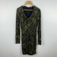 Country Road Womens Dress Size Medium Black Green Camouflage Long Sleeve