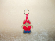 Rockabilly Gingerbread (Red) Keyring/Bag Charm.Embroidered-Handmade