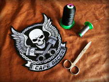 Cafe racer skull and pistons motorcycle patch