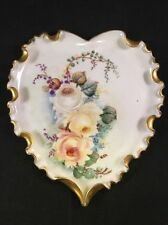 Outstanding Belleek Willets Hand-painted Scalloped Rim Heart Shaped Dish - Roses