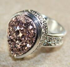 SILVER Vintage Style Copper Rainbow Titanium Druzy Teardrop Ring Size 6