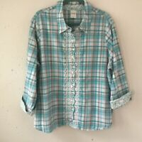 Vintage Blair Pink Teal Plaid Full Button 3/4 Sleeve Embroidery Shirt Size-2XL