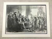 1855 Antique Print King Alfred The Great Anglo Saxon England Royal Court