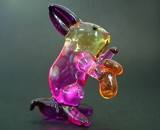 Glass BUNNY RABBIT Hare Multi Coloured Glass Ornament Glass Animal Curio Display