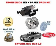 FOR NISSAN SKYLINE R32 R33 2.0 RB20E 1989--> NEW FRONT BRAKE DISC SET + PADS KIT