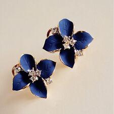 Stylish Lady Girls Blue Flower Charm Crystal Ear Stud Earrings korean style