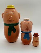 Wooden 3 Little Pigs Nesting Dolls from Poland 3 pcs