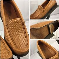 Tommy Bahama Loafers Shoes Size 7.5 Women Brown Braided Leather Made Spain YGI