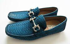 SALVATORE FERRAGAMO Blue Python Snakeskin Leather Shoes 7.5 US 41.5 Euro 6.5 UK