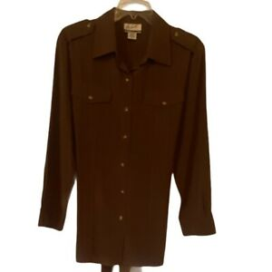 The Look Randolph Duke Womens Shirt Dress Brown Belted Collared 100% Silk 12 New