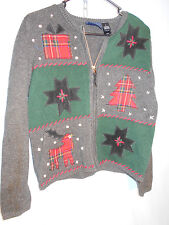 WOMENTS UGLY CHRISTMAS HOLIDAY SWEATER CARDIGAN REINDEER PLAID ZIP SMALL