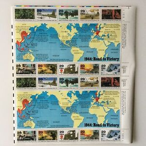 1944:ROAD TO VICTORY UNITED STATES, 1994 WW II COMMEMORATIVE TEN STAMPS MNH