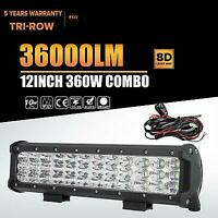 "12"" 360W TRI-ROW CREE LED WORK LIGHT BAR SPOT FLOOD TRUCK DRIVING OFFROAD 4WD"