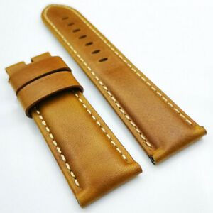26mm / 22mm Orange Waxy Calf Leather Tang Buckle Strap for PAM RADIOMIR LUMINOR