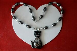 """BEAUTIFUL NECKLACE WITH HEMOTITE & MURANO GLASS CAT 16"""" LONG + PENDANT IN BOX"""