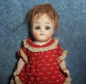 "Antique German Bisque Girl Doll~5"" Dollhouse~Marked P.607/II~Original Red Dress"