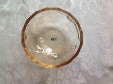 "New in Gift Box:  OLEG CASSINI AMBER CRYSTAL BOWL 4.5"" ""BROADWAY"" FREE SHIP!"